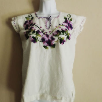 mexican embroidered blouse hippie boho chic blouse