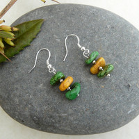 "Green and Yellow Turquoise Nuggets Dangle Earrings  """"Free Worldwide Shipping"""""
