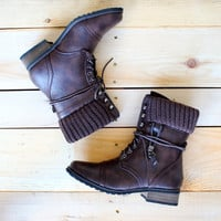 ankle sweater boots - dark brown