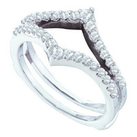 14k White Gold 0.47Ctw Diamond Fashion Wedding Ring Band: Ring