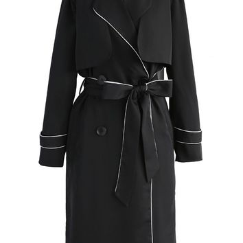 Walk in Style Double-breasted Trench Coat in Black