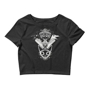 Witch And Crows With Cat Skull Ladies Black Crop Top