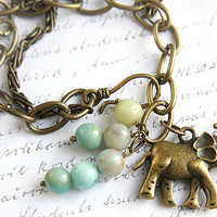 Lucky Elephant Bracelet. Natural Amazonite Stone Beads. Antique Bronze Charm Bracelet. Boho Bracelet