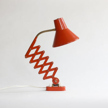 Vintage Accordion Wall Lamp. Articulating Scissor Wall Lamp. 60s