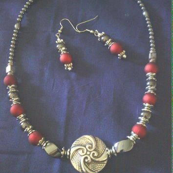 Necklace and earring set....Magnetic Hematite, Tibetan silver, and deep red imitation pearls