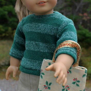 3  piece set, green stripe sweater, beige mini skirt Christmas doll tote, 18 inch doll clothes, American girl, Maplelea