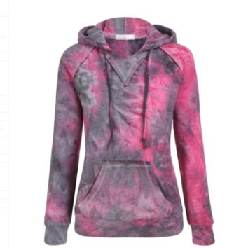 Women Gradient Tie Dye Color Fleece Hoodie Sweatshirt Jumper Top Outwear Jacket
