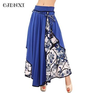 fashion high waist maxi split skirts women   casual print floral patchwork asymmetric pleated big hem lady long skirt