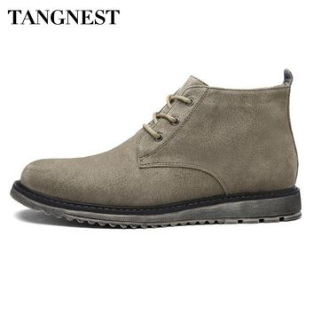 Tangnest NEW Autumn Suede Leather Men Boots Genuine Leather Western Boots Man Rubber Shoes  Winter Lace Up Ankle Boot XMX871
