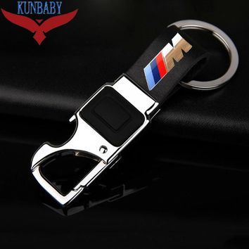 KUNBABY Metal Leather Car Key Chain Ring Holder With LED Bottle Opener Multifunctional Tool For BMW M