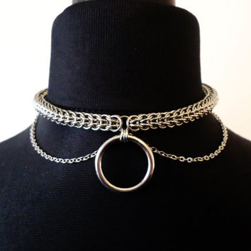 Pure Stainless Steel Chainmail O-Ring Choker with Chain Details - O Ring Collar