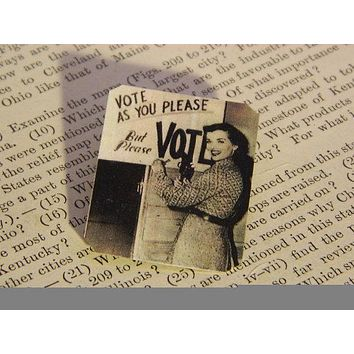 Please Vote Lapel Pin Feminist Brooch