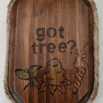 Weed/Pot Smoking Sign | Weed/Pot/Marijuana/Cannabis/Hemp/420 - Handmade Wood Burned Hemp Rope Plaque/Sign