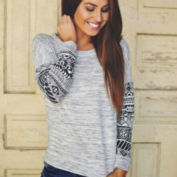 Womens Gray Tribal Print Sweater