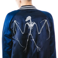 Zoe Karssen Bat Skeleton Baseball Jacket Navy