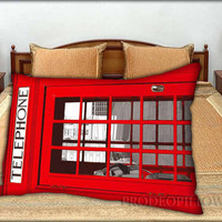 """London Phone Box Design - 20 """" x 30 """" inch,Pillow Case and Pillow Cover."""