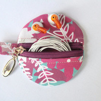 Small coin purse, ear bud/earhphone case, holder with keyring, zipped purse in Waves