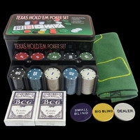 Poker Chips Set - 200pcs Poker chips&table cloth&Dealer Blinds&Playing cards