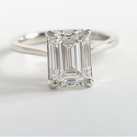 A Perfect 1.7CT Emerald Cut Solitaire Russian Lab Diamond Ring