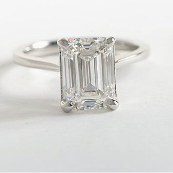 A Perfect 2CT Emerald Cut Solitaire Russian Lab Diamond Ring