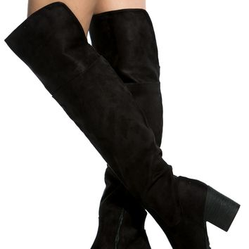 Black Faux Suede Chunky Over the Knee Boots @ Cicihot Boots Catalog:women's winter boots,leather thigh high boots,black platform knee high boots,over the knee boots,Go Go boots,cowgirl boots,gladiator boots,womens dress boots,skirt boots.