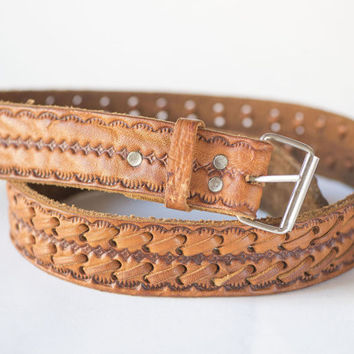 Tooled Leather Belt - Vintage Western Belt - Cowgirl Belt Tan - Hippy Belt Caramel – Bohemian Woman Belt Hand Made Gift