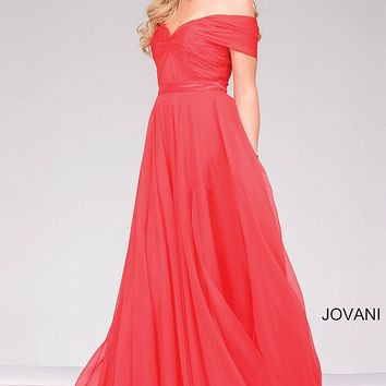 Coral long off the shoulder chiffon dress with a sweetheart neckline.