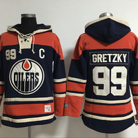 Edmonton Oilers Mens Sweaters #99 Wayne Gretzky Deep Blue Ice Hockey Hoodies Jersey Embroidery Logo Can Mix Order 3144
