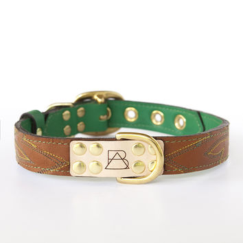 Emerald Green Dog Collar with Brown Leather + Green and Yellow Stitching