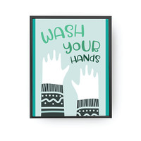 Wash Your Hands, Nursery Poster, Bathroom Decor, Typography Poster, Kids Print, Green Print, Reminder Art, Boys Bathroom, Children Education