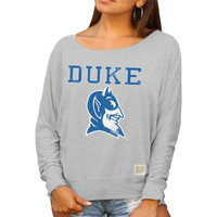 Duke Blue Devils Original Retro Brand Women's Relaxed Boatneck Dolman Long Sleeve T-Shirt – Gray