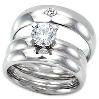 Clara's His & Hers Matching Stainless Steel Wedding Ring Set
