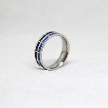 Free Engraving, blue Ring,promise ring,couple Rings, Lovers rings