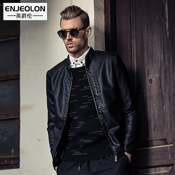new Motorcycle Leather PU Jackets Men fashion zipper cuff Clothing,Stand collar Male slim Casual Coats