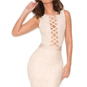 Luda Cream Lace Bandage Dress BQH2092 Available in 3 colors