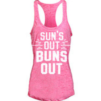 Suns Out Buns Out women's workout tank tops from G2OH