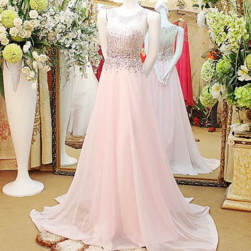 Scoop Neckline Floor Length Chiffon Evening Dress with Beadings and Crystals Prom Dress