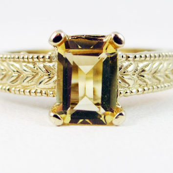 Citrine Detailed 14k Yellow Gold Emerald Cut Ring, Solid 14 Karat Gold Ring, Emerald Cut Citrine Ring, November Birthstone Ring