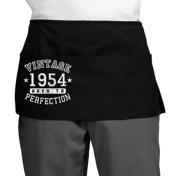 Vintage Birth Year 1954 Dark Adult Mini Waist Apron, Server Apron