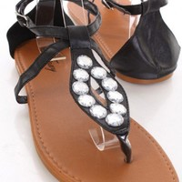 Black Faux Leather Gemstone Cutout Thong Strap Sandals