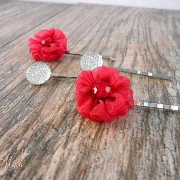 Wedding Hair Pins, Bridal Bobby Pins, Flower Hair Pins, Flower Hair clips, Bridal accessories, Wedding hair accessories, Vintage style Hair