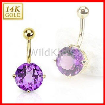 14k Solid Gold Ring 14g Belly Button Ring Amethyst 14k Yellow Gold 14g Navel Ring Navel Jewelry Belly Button Jewelry
