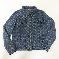 LV Louis Vuitton Autumn Winter Classic Stylish Women Casual Denim Cowboy Cardigan Jacket Coat