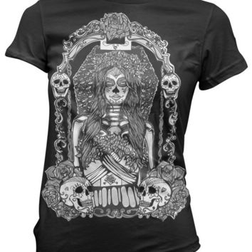 Womens Tee Shirt SLIM FIT  S-XL  Day of the Dead  Lowbrow Punk Skulls Pin Up Girl Tattoo Art Gothic