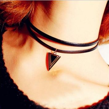 ONETOW Triangle double leather rope, simple wild necklace, chain clasp, necklace, female