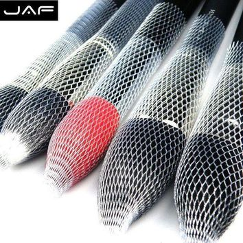Retail Jaf 12 Pcs/lot Nylon Sheer Mesh Netting Slip On Make Up Brush Guard Forming Hair Shape Makeup Bristle Protectors Bp01