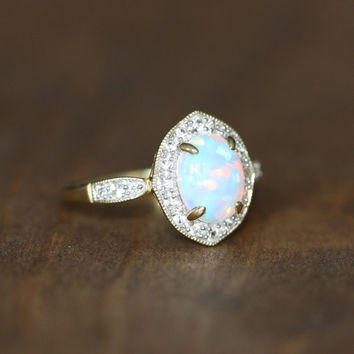 Vintage Inspired Opal Halo Ring in 10k Yellow Gold Opal Engagement Ring October Birthstone Ring Oval Gemstone Ring Ready to Ship (Resizable)