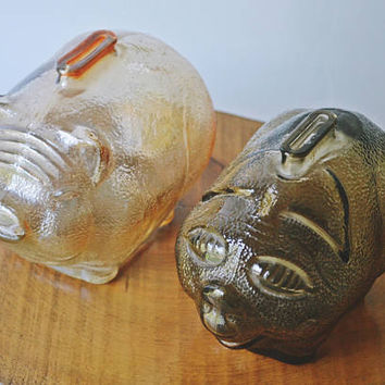 Depression Glass Piggy Banks, Two Glass Banks