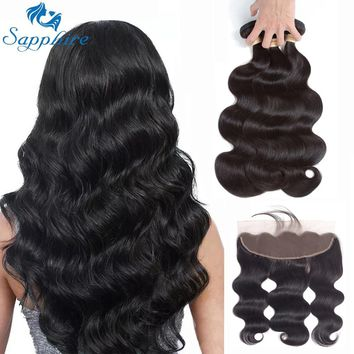Sapphire Brazilian Body Wave Human Hair Weave Bundles With Lace Frontal Closure Human Hair 3 Bundles With Closure Hair Extension