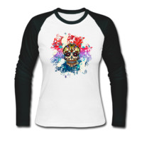 Mexican Sugar Skull Women's Baseball T-Shirt - Women's Baseball Custom T Shirt Cheap